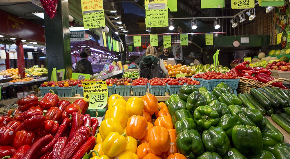 Shopping for fresh produce at St Lawrence Market